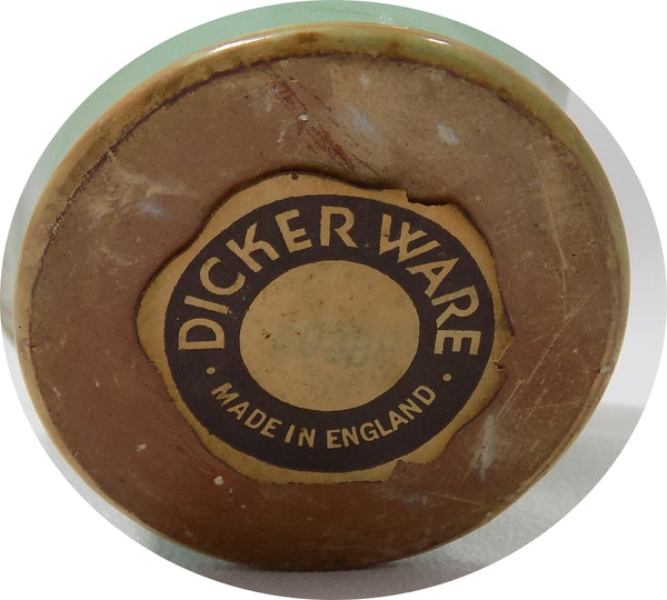 Dicker Ware Art Pottery Basket, Sussex England 1935-1940 bottom sticker view