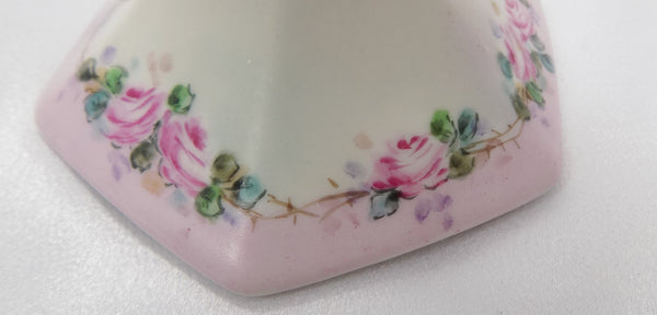 Antique T & V Limoges France Chamberstick, Hand Painted Porcelain / 1892-1907, Signed By Pittsburgh China Painter Ella T. Hissrich base view