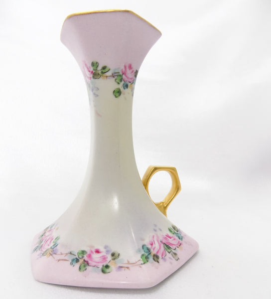 Antique T & V Limoges France Chamberstick, Hand Painted Porcelain / 1892-1907, Signed By Pittsburgh China Painter Ella T. Hissrich handle right no candle