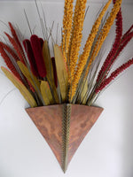 Modern Copper and Brass Wall Vase by Higgins California main view with colored wheat