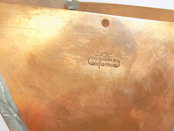 Modern Copper and Brass Wall Vase by Higgins California Mark view