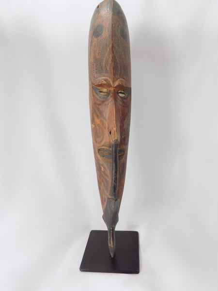 Papua New Guinea Carved Masks on Stands Sepik River Area Pigmented Decorations Cowry Shell Eyes B