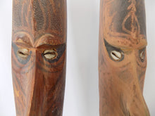 Papua New Guinea Carved Masks on Stands Sepik River Area Pigmented Decorations Cowry Shell Eyes -eye view