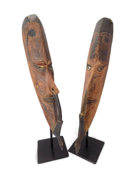 Papua New Guinea Carved Masks on Stands Sepik River Area Pigmented Decorations Cowry Shell Eyes