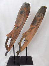 Papua New Guinea Carved Masks on Stands Sepik River Area Pigmented Decorations Cowry Shell Eyes side view