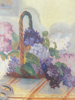 Vintage Framed Oil Painting, Impressionist Still Life, Signed by Artist close up flower basket
