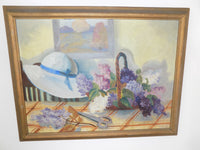 Vintage Framed Oil Painting, Impressionist Still Life, Signed by Artist main  full front