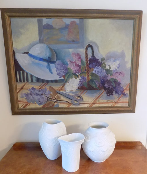 Vintage Framed Oil Painting, Impressionist Still Life, Signed by Artist with three vases