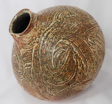 Stoneware, Large, Carved, and Textured Pot Signed Jens rim view