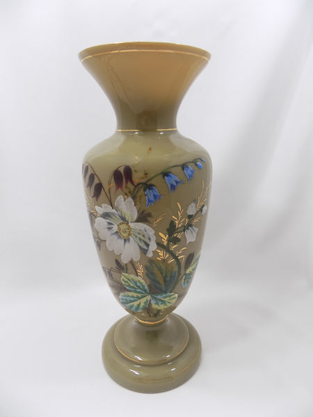 Antique Bristol Glass Vase, Victorian Hand Enameled Botanical Art, Hand Blown With Gilding full main view