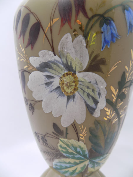 Antique Bristol Glass Vase, Victorian Hand Enameled Botanical Art, Hand Blown With Gilding close up of painted flowers