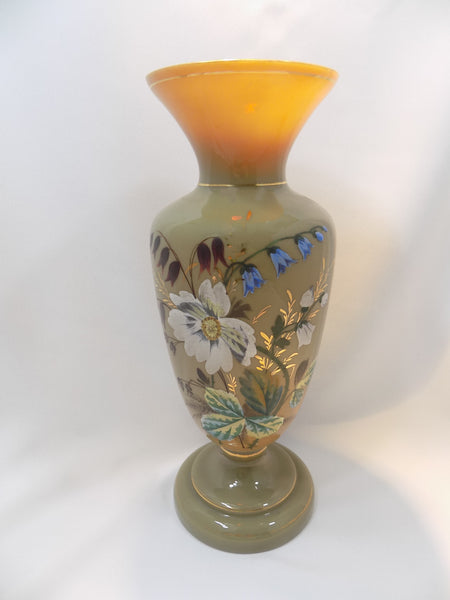 Antique Bristol Glass Vase, Victorian Hand Enameled Botanical Art, Hand Blown With Gilding front view lit from above