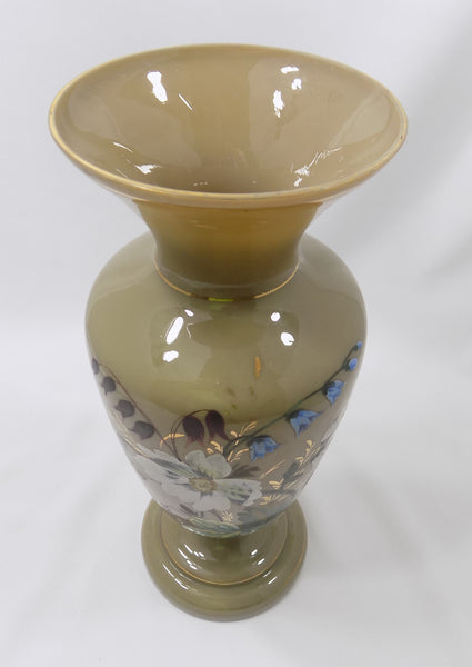Antique Bristol Glass Vase, Victorian Hand Enameled Botanical Art, Hand Blown With Gilding rim view