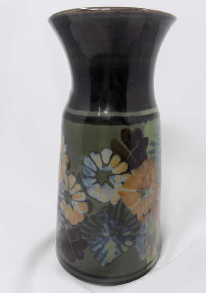 Apple Lane Pottery Vase by Bill Nagengast Michigan Potter full view dark side