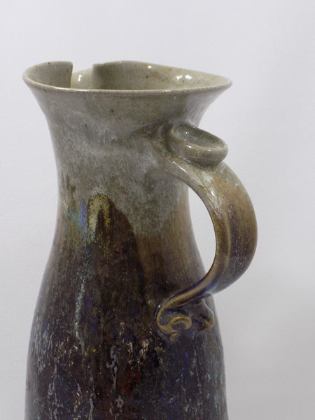 1992 Drip Glazed Stoneware Studio Art Pottery Tall Pitcher handle front right