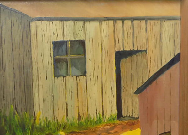 Rustic Farm Scene Vintage Oil Painting by J. Carroll Tobias close up shed