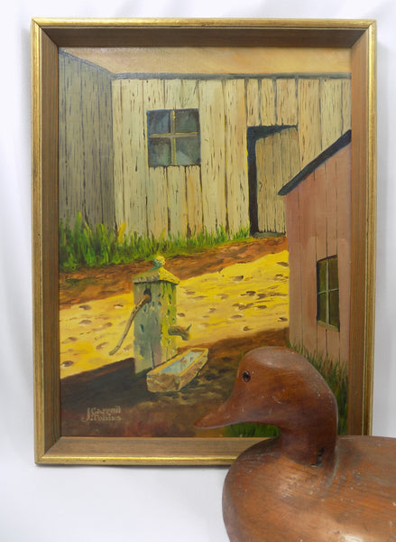 Rustic Farm Scene Vintage Oil Painting by J. Carroll Tobias pictured with wood duck decoy
