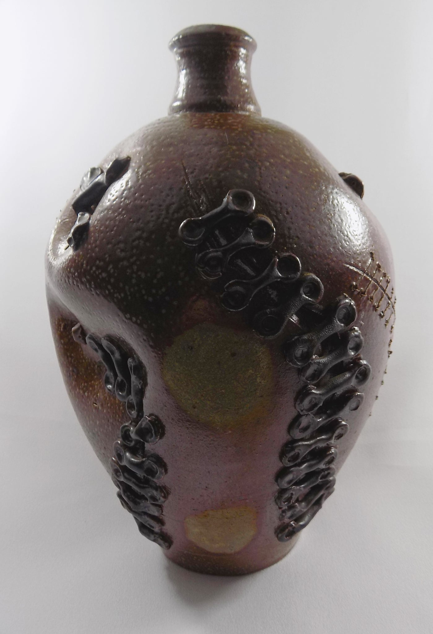 Brutalist Bottle Vase - Signed Sculptural Studio Stoneware