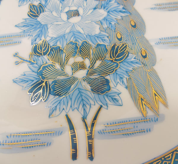 Mid-Century Kutani Porcelain Charger - Blue Peacock and Peonies - Japan peonies close up