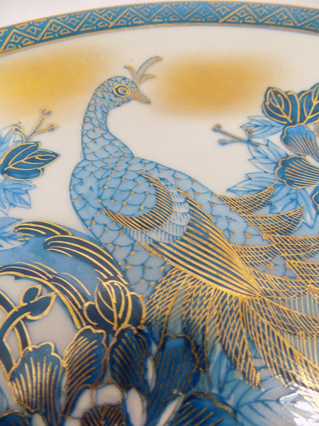 Mid-Century Kutani Porcelain Charger - Blue Peacock and Peonies - Japan peacock close up