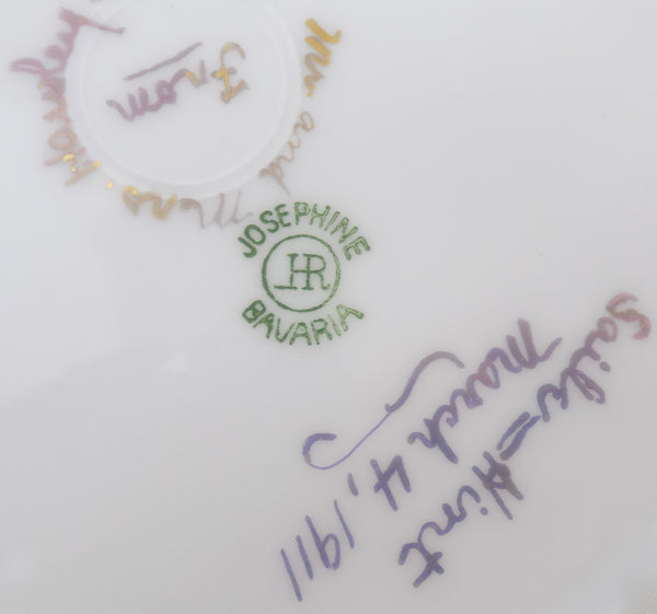 Hutschenreuther Porcelain Antique Bavarian Plate close up makers mark