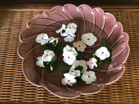 California Pottery Flower Bowl Signed Harold Johnson 1940s with flowers floating in water