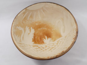 Sun and Swans  Vintage Peru Art Pottery Bowl - Signed Gabino Moncada