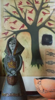 Alfaraz Art Pottery Figure - Woman With Basket - 1960s Spain shown with print and bowl