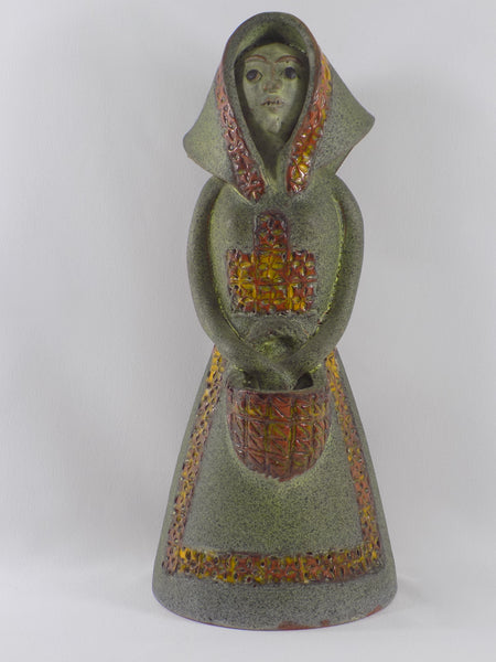 Alfaraz Art Pottery Figure - Woman With Basket - 1960s Spain full front view