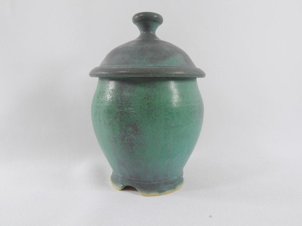 Matte Green Glaze Vintage Chris Powell Lidded Jar main view