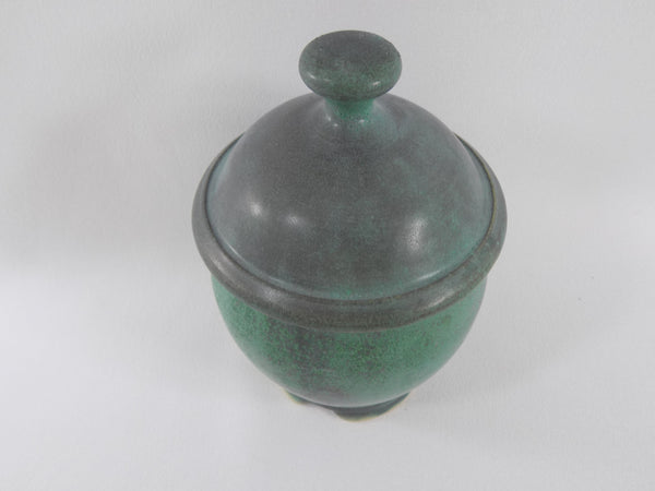 Matte Green Glaze Vintage Chris Powell Lidded Jar top view