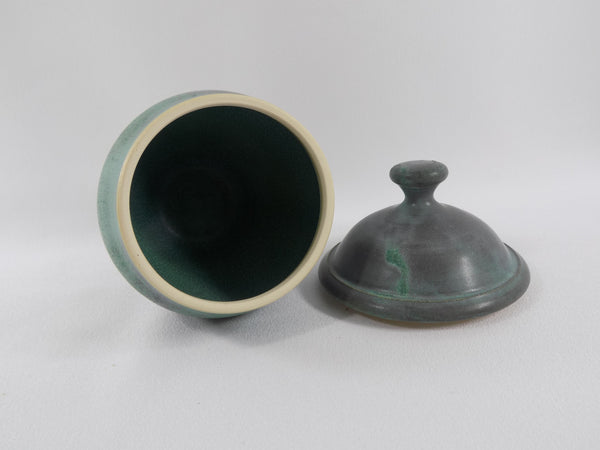 Matte Green Glaze Vintage Chris Powell Lidded Jar inside view