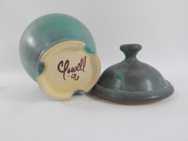Matte Green Glaze Vintage Chris Powell Lidded Jar bottom view