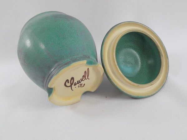 Matte Green Glaze Vintage Chris Powell Lidded Jar lid view inside