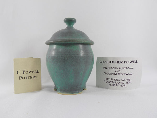 Matte Green Glaze Vintage Chris Powell Lidded Jar with info cards