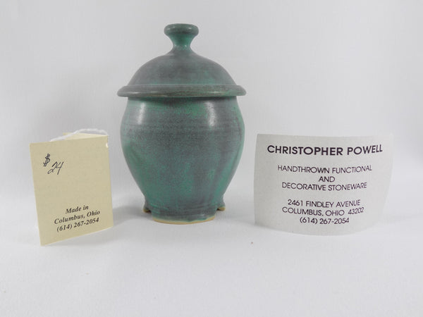 Matte Green Glaze Vintage Chris Powell Lidded Jar info card three