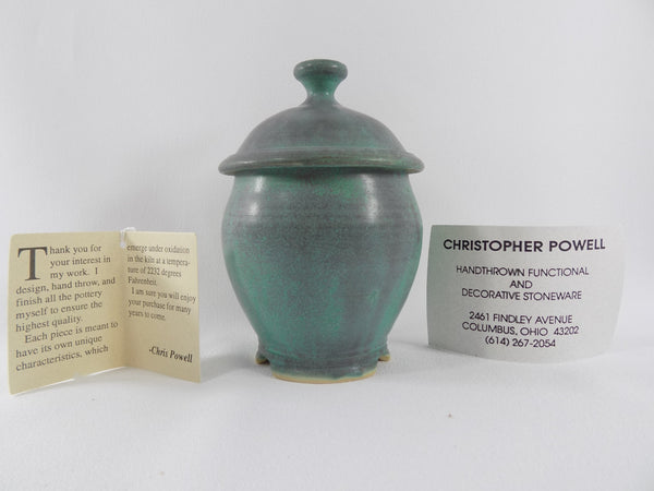Matte Green Glaze Vintage Chris Powell Lidded Jar info cards two