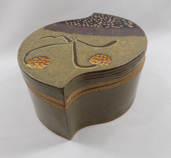 Studio Stoneware Art Pottery Lidded Box by David Petrakovitz main view