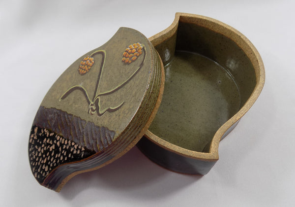 Studio Stoneware Art Pottery Lidded Box by David Petrakovitz lid slid to side