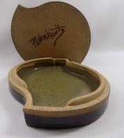 Studio Stoneware Art Pottery Lidded Box by David Petrakovitz inside lid and box bottom