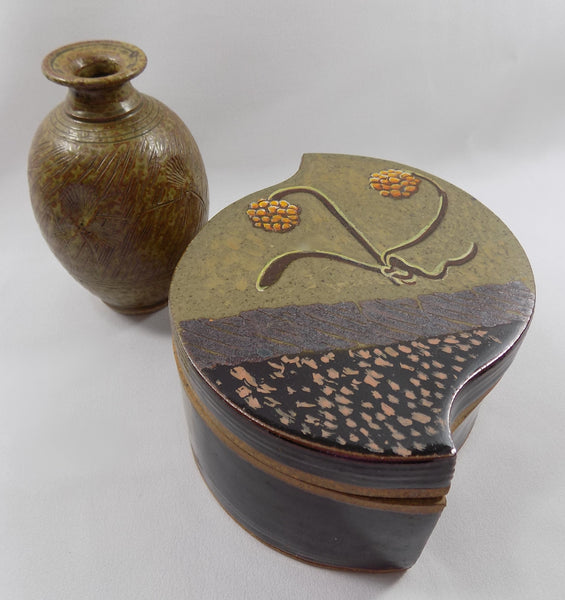 Studio Stoneware Art Pottery Lidded Box by David Petrakovitz with bud vase