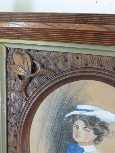 Gibson Girl in Crisscross Frame With Porcelain Buttons by Alice Luella Fidler 1906 close up frame decor