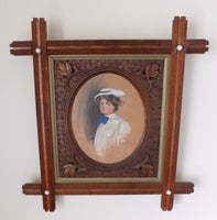 Gibson Girl in Crisscross Frame With Porcelain Buttons by Alice Luella Fidler 1906 full view front
