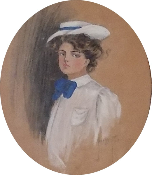 Gibson Girl in Crisscross Frame With Porcelain Buttons by Alice Luella Fidler 1906 picture only