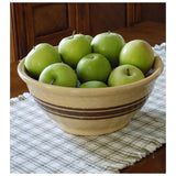 4841 Vintage Yellow Ware Bowl  -10 Inch Robinson-Ransbottom - Brown Bands -on table with apples-1000 x 1000.jpg