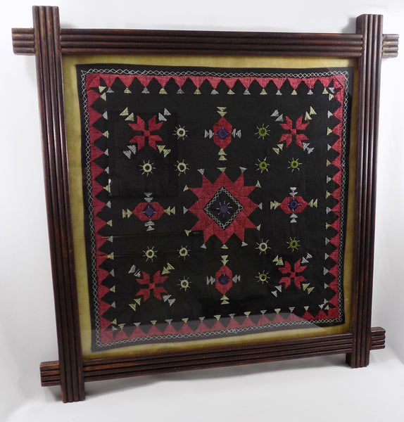 4852 Antique India Mirrorwork Embroidery Crisscross Frame  Large Shisha Silk Needlework front full view-D-2429 x 2538.jpg