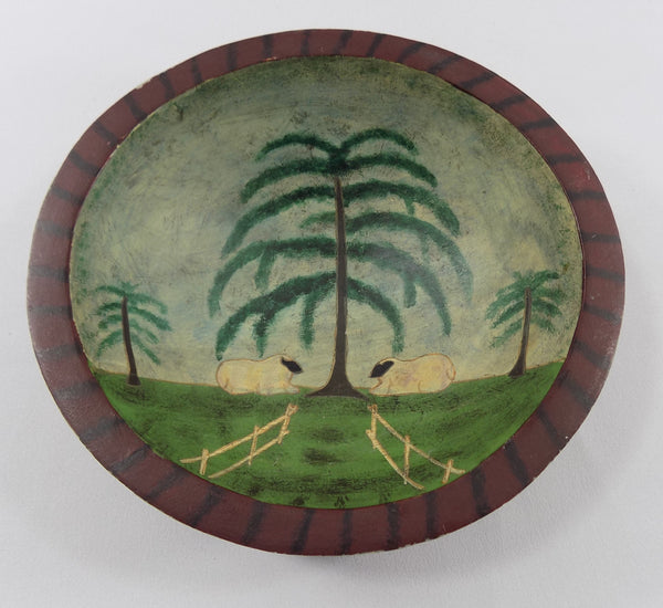 Sheep in Pasture Folk Art Wooden Bowl inside bowl view