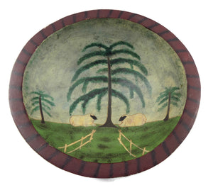Sheep in Pasture Folk Art Wooden Bowl main view