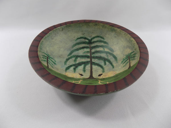 Sheep in Pasture Folk Art Wooden Bowl tilted view