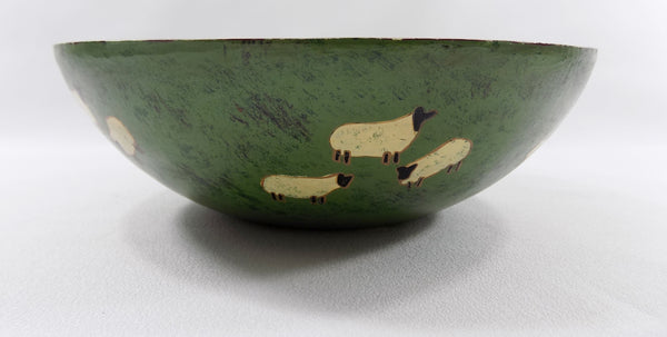 Sheep in Pasture Folk Art Wooden Bowl sheep view